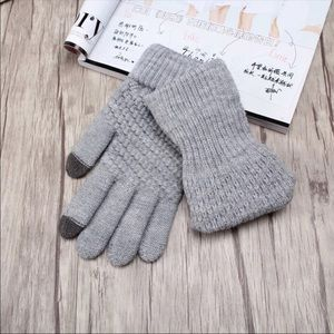 Cozy Grey Smart-Touch Knit Gloves